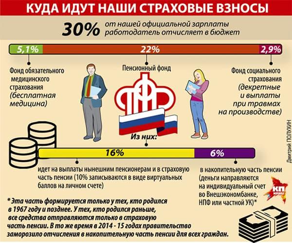 Распределение страховых взносов граждан РФ
